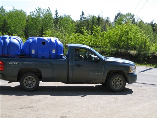 Truck with septic tanks